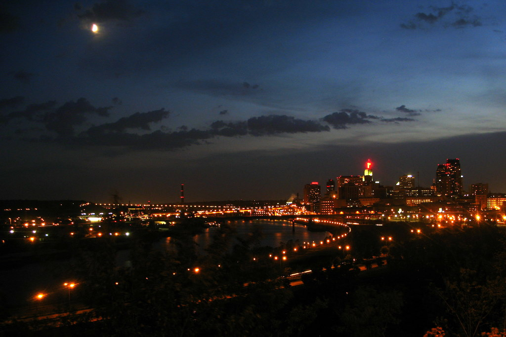Night time view of downtown St Paul skyline from Mounds Park