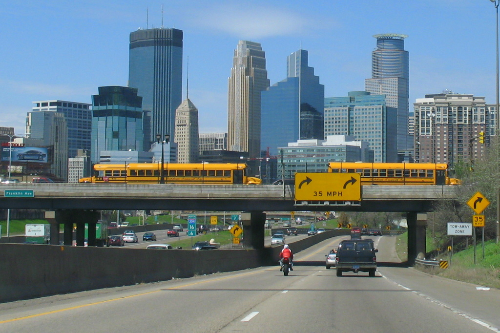 A skyline photo of downtown Minneapolis taken from 35W.