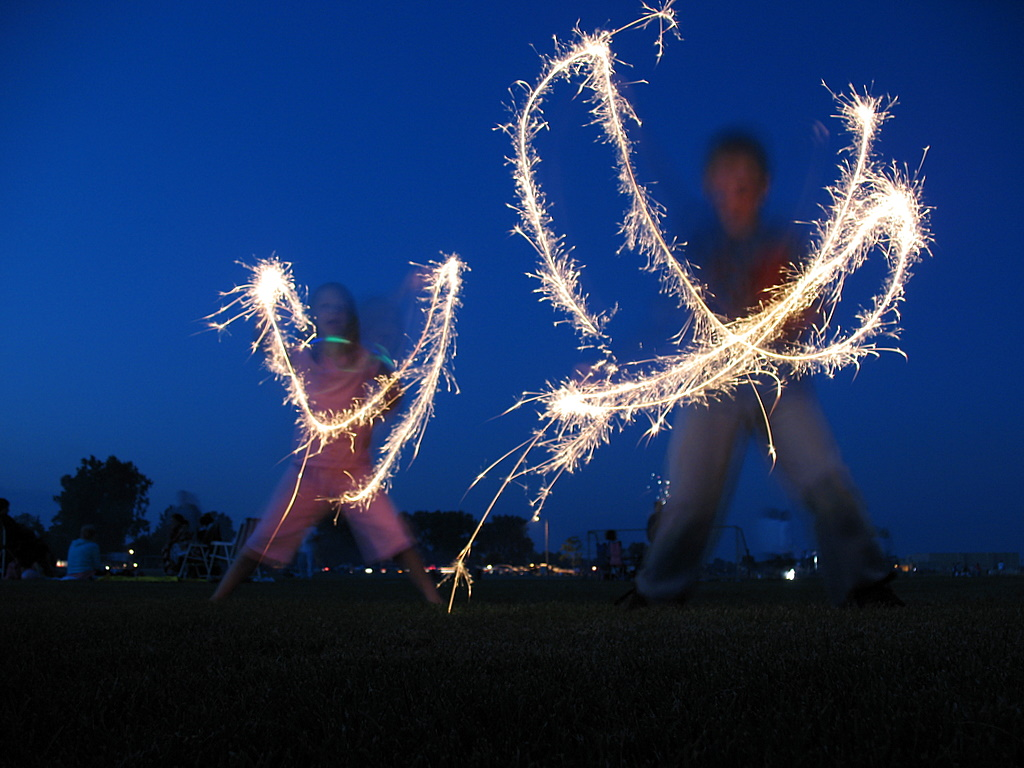 sparklers on the 4th of July