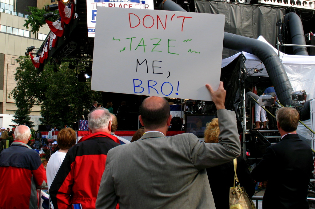 A protest sign from the RNC 2008 in St Paul that reads: don't tase me bro!