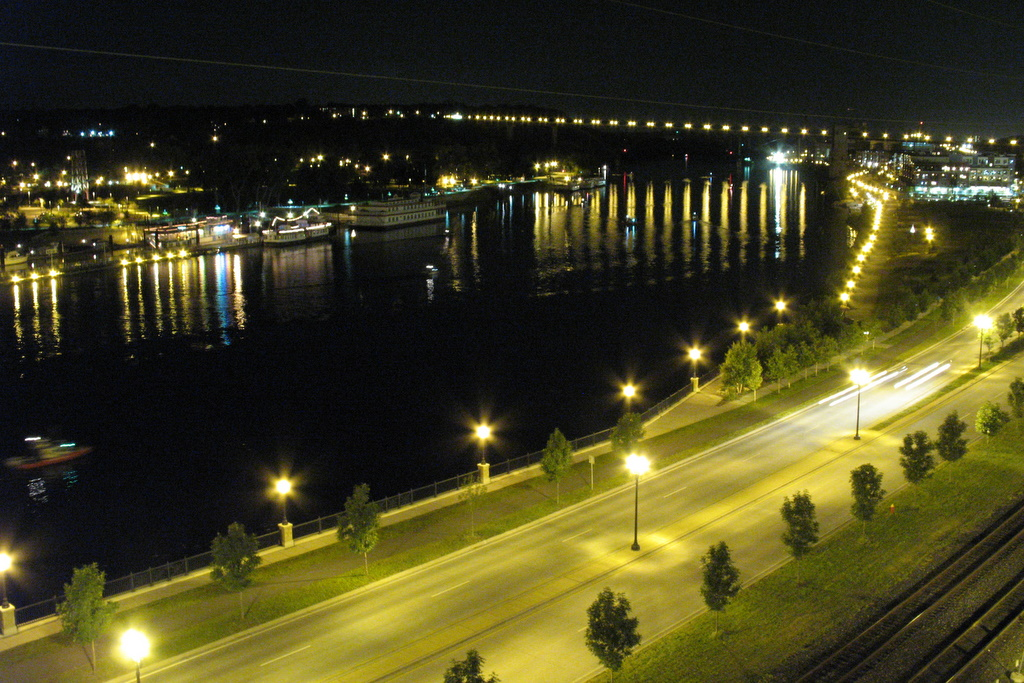 A nighttime photo of the Mississippi River on a very calm evening in St Paul.