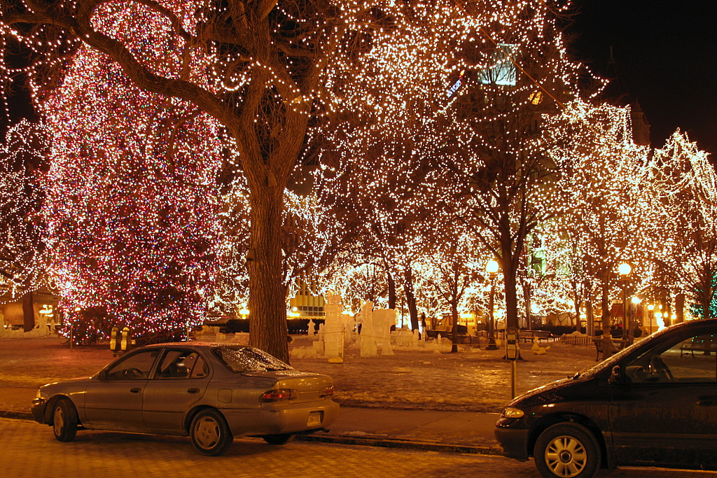 Christmas tree lights as seen in Rice Park in downtown St Paul