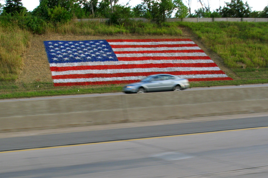 A grass painted United States flag along Interstate Highway 94 in St Paul, Minnesota.