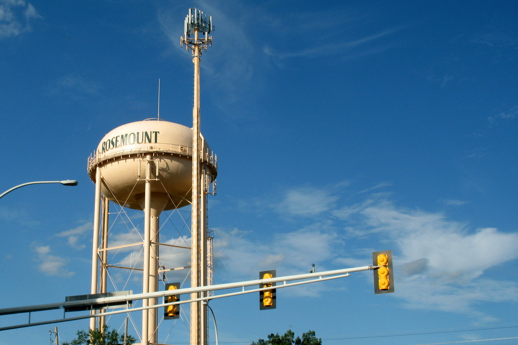 A water tower in Rosemount, Minnesota.