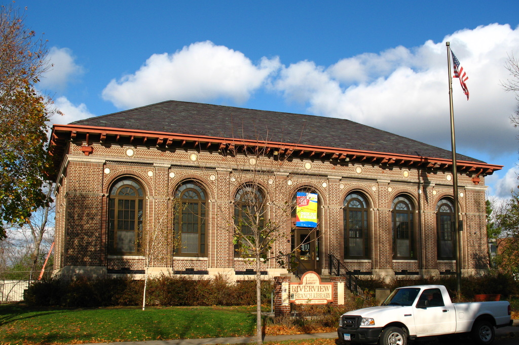 The Riverview Branch Library on the West Side neighborhood in St Paul.