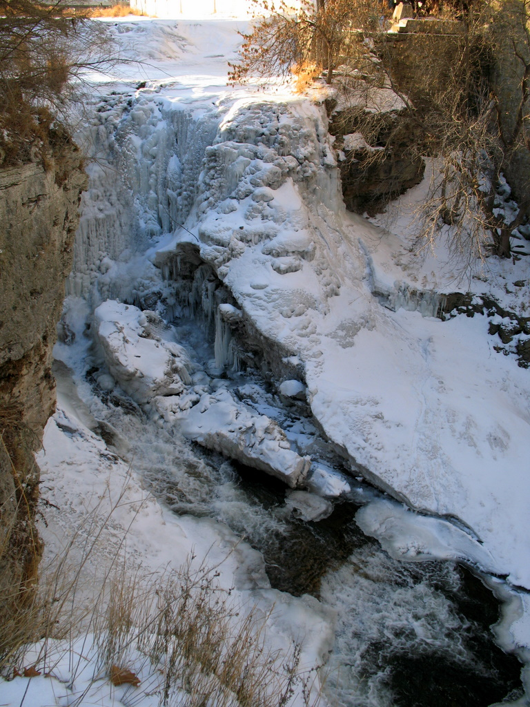 The Vermillion River water falls in Hastings Minnesota during the winter months are often found frozen in ice.