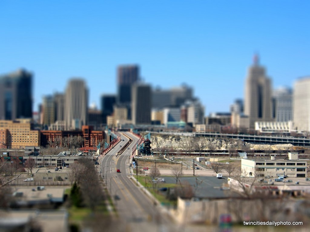 Downtown St Paul using the photo technique called tilt-shift.