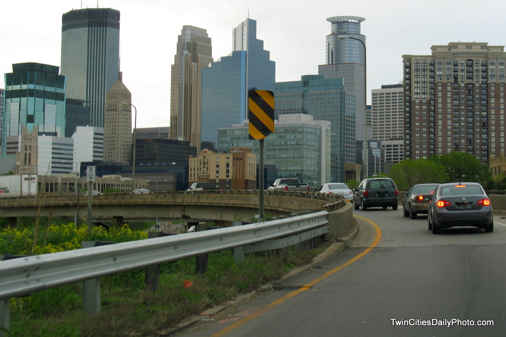 The skyline view of Minneapolis as you approach from Interstate 35W on the ramp to Interstate 94.