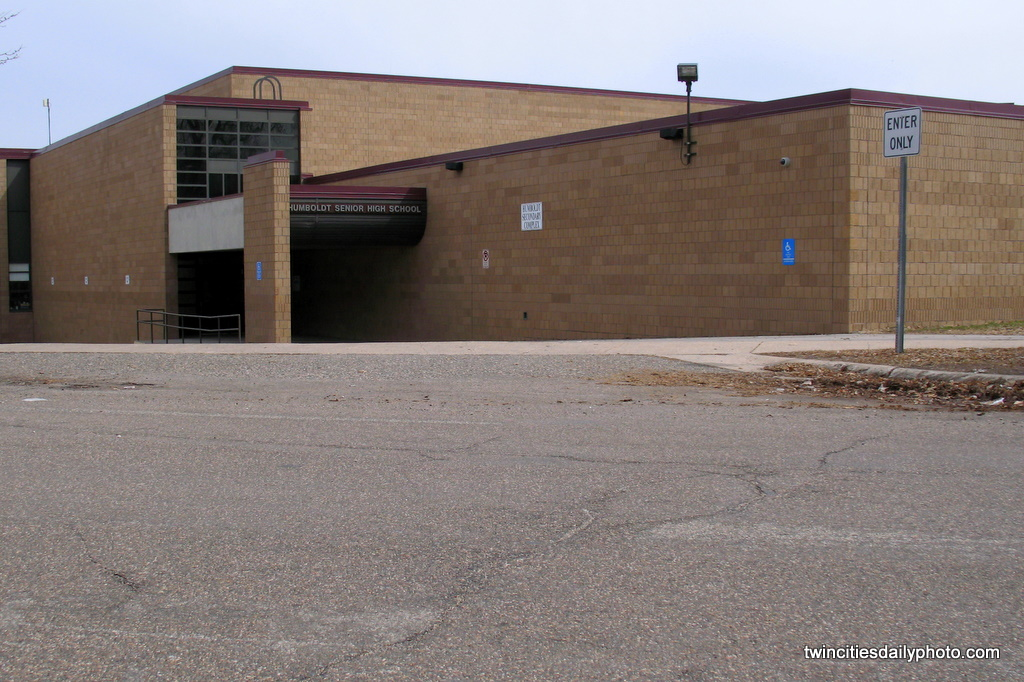 The entrance near the gym to Humboldt Senior High School located on the westside neighborhood of St Paul.
