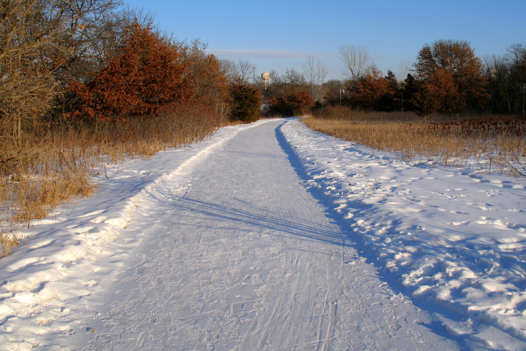Snow covered walking paths in Vermillion Falls Park, Hastings, Minnesota are one place you can walking during the winter months of the year.
