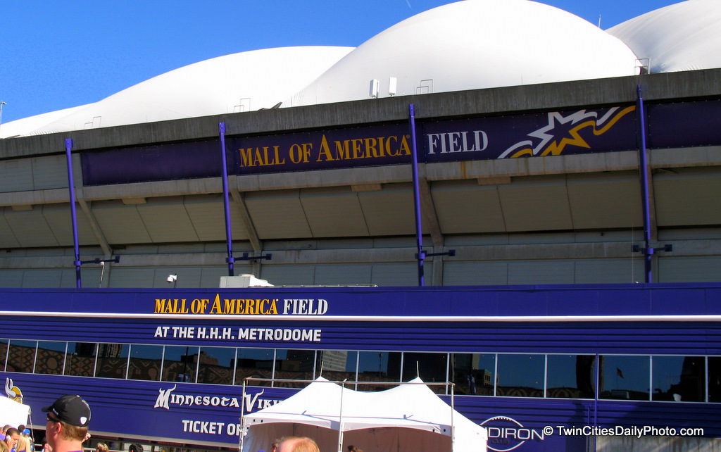If you've visited the Metrodome in the past, or at least prior to the Minnesota Twins leaving the stadium, you may recall the support beams were painted red. Now that the stadium is solely the Vikings stadium, the dome has had a makeover. The beams, railings, doors, some of the walls are now Vikings purple in color.
