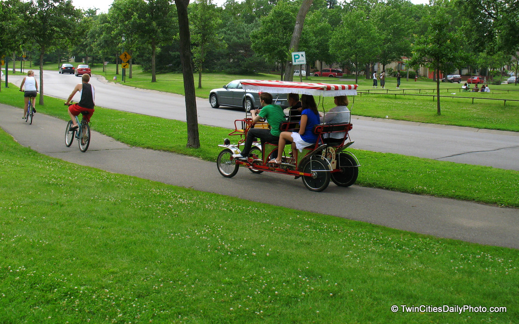 If your in Minnehaha Park and are looking for a quick way to visit the park, these four person bike carts are available for renting. I'm unsure of the cost, but I did see plenty of these on the road during my time at the park.