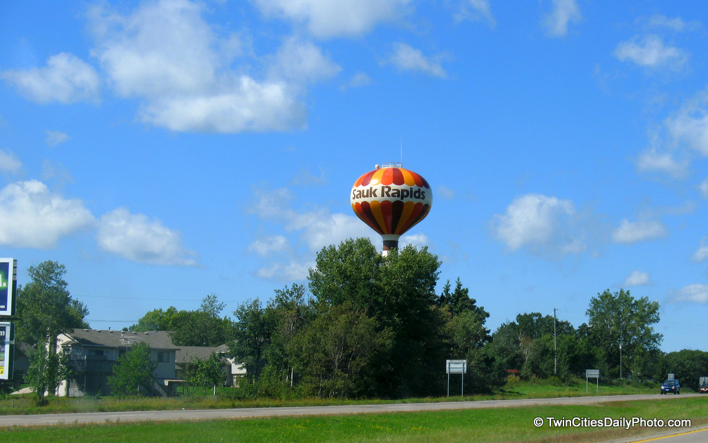 The water tower in the city of Sauk Rapids.