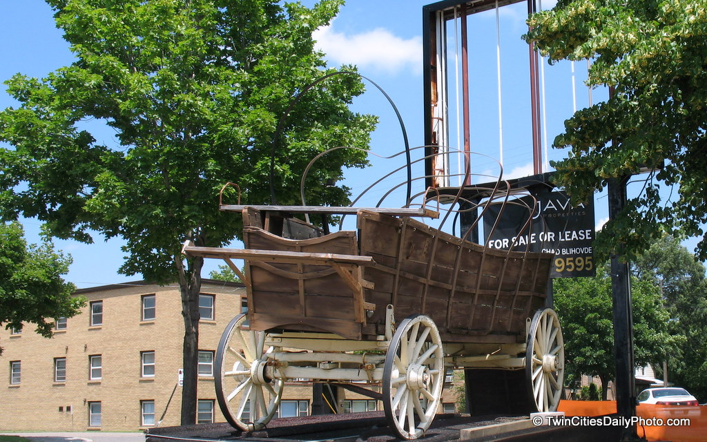 Is this a left over wagon from 'The Wild Wild West' TV show from the 1960's? Probably not, but this weathered wagon can be found on 7th Street and Hathaway Street in St Paul if you're interested in seeing it.
