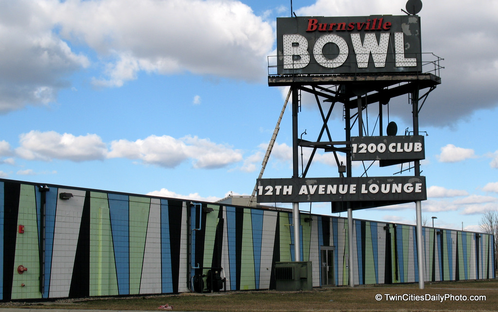 A broader view of the Burnsville Bowl sign.