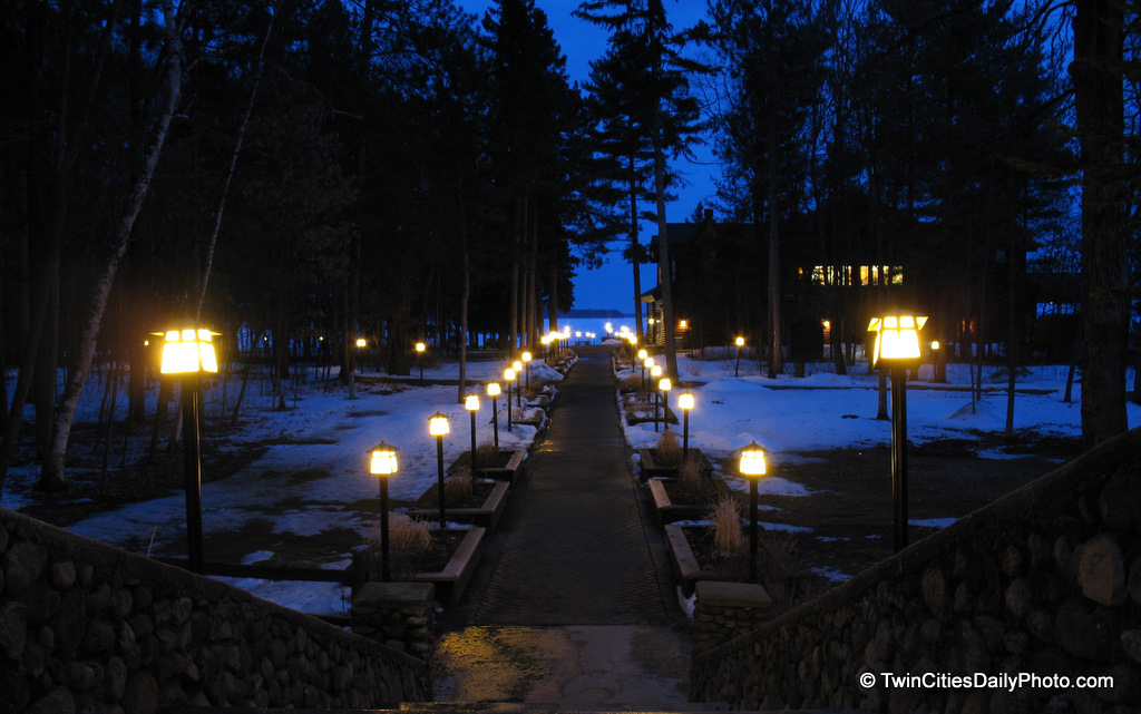 Night falls in Nisswa, Minnesota with a lighted pathway to Gull Lake. We'd driven through Nisswa several times on our way to Bemidji and loved the little town up north from the Twin Cities.
