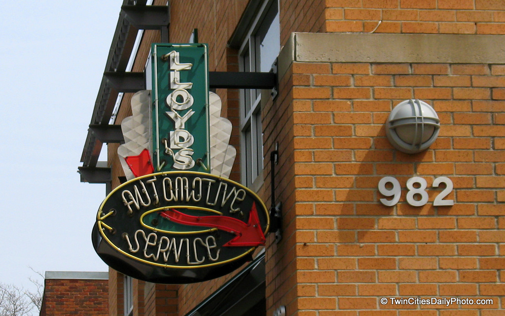 A neon sign of Lloyds automotive service, which is located on Grand Avenue in St Paul.