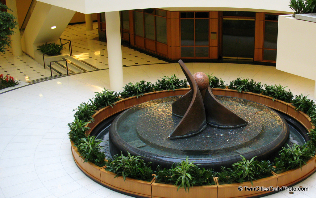 This fountain sits inside the Wells Fargo Building in downtown St Paul. The building when it first opened was the Minnesota World Trade Center and is attached to Town Square.