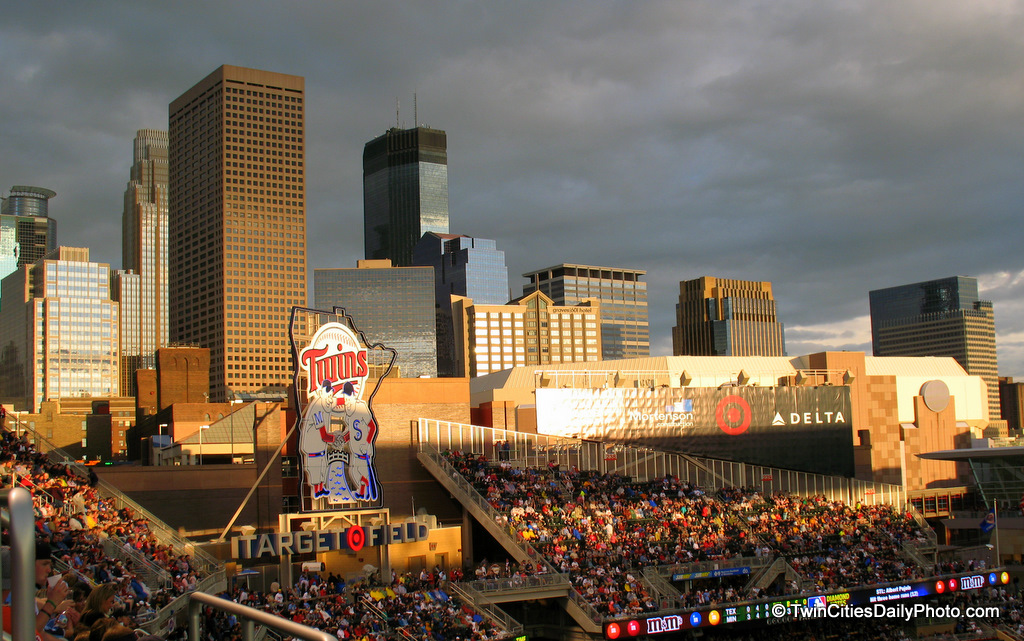 Downtown Minneapolis from inside Target Field, home of the Minnesota Twins.