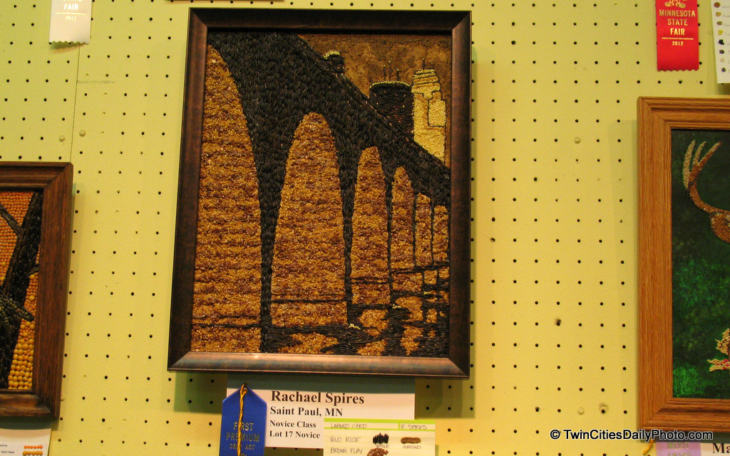 One of the more unique contest at the Minnesota State Fair is the seed art. You take any several types of seeds and you create a picture or replicate a famous scene.
